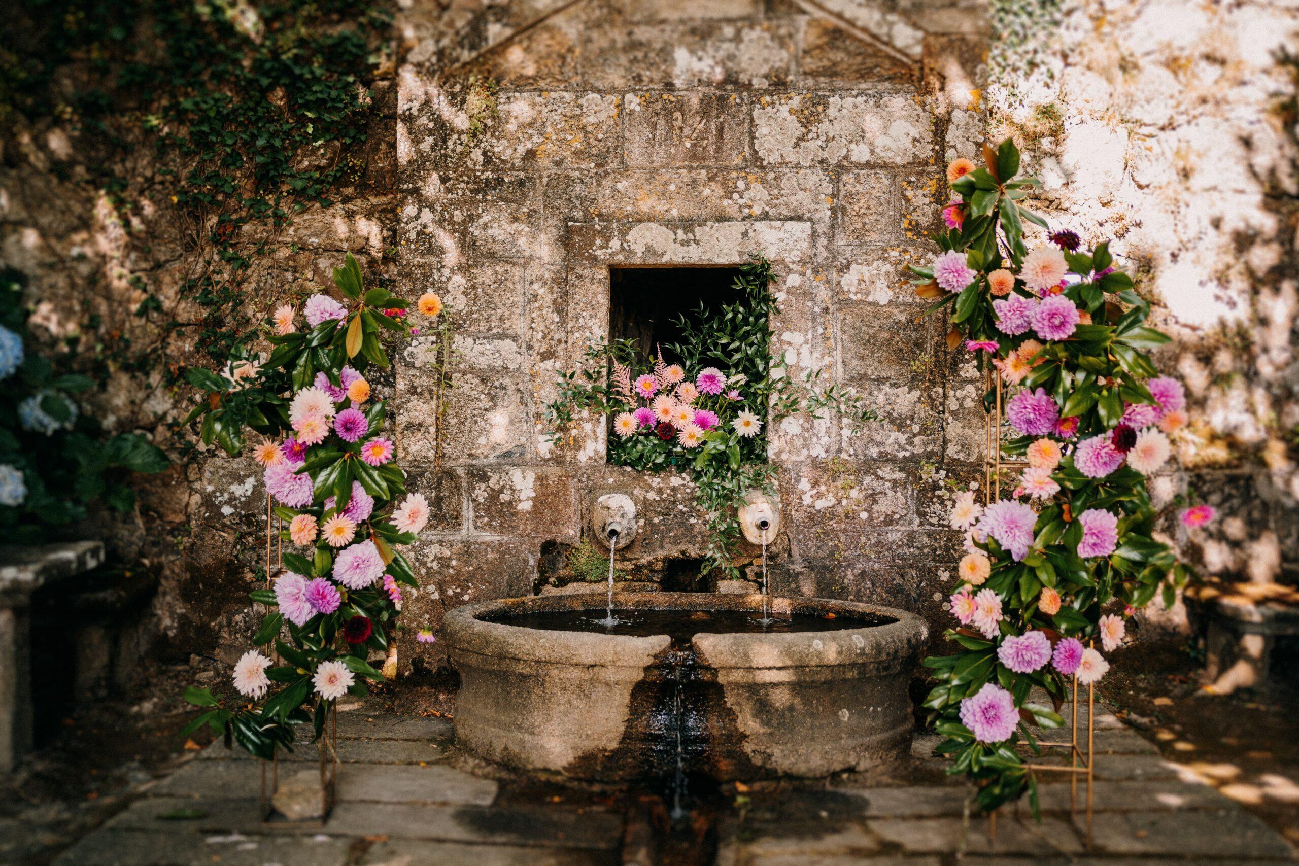 Decoración floral para boda en un pazo gallego